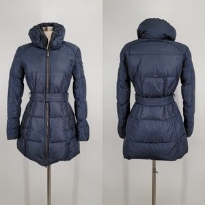 ADD Down Navy Blue Puffer Coat Belted 2